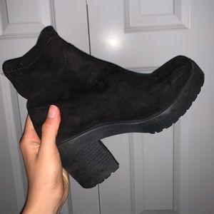 TOPSHOP Black Suede Sock Booties